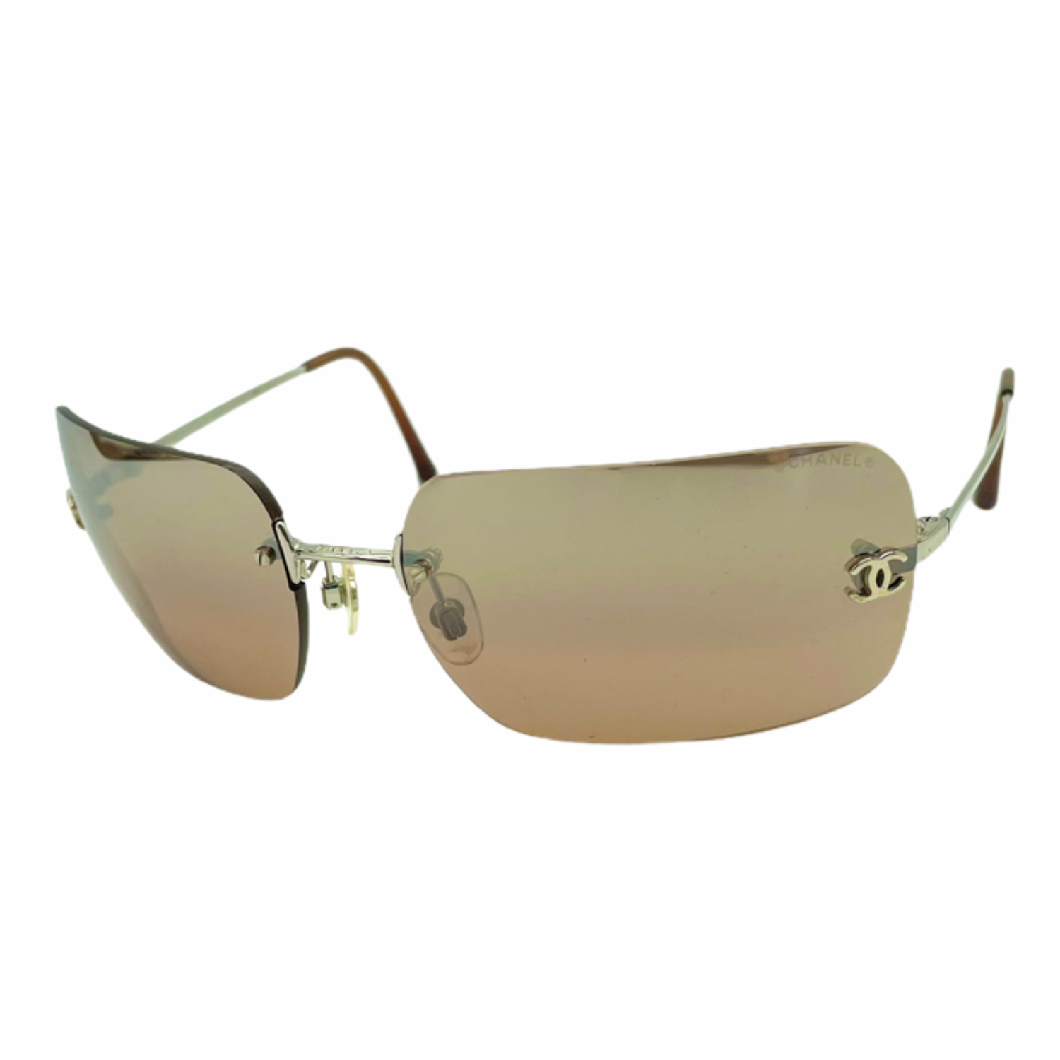 Vintage Chanel Rimless Mirrored Sunglasses in Brown | NITRYL