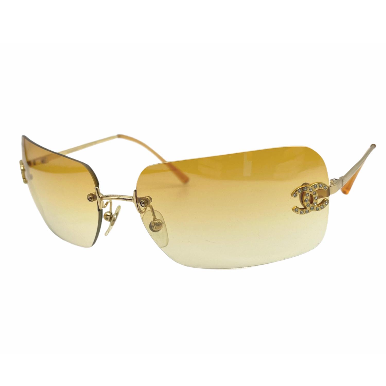 Vintage Chanel Diamante Rimless Sunglasses in Orange/Yellow | NITRYL