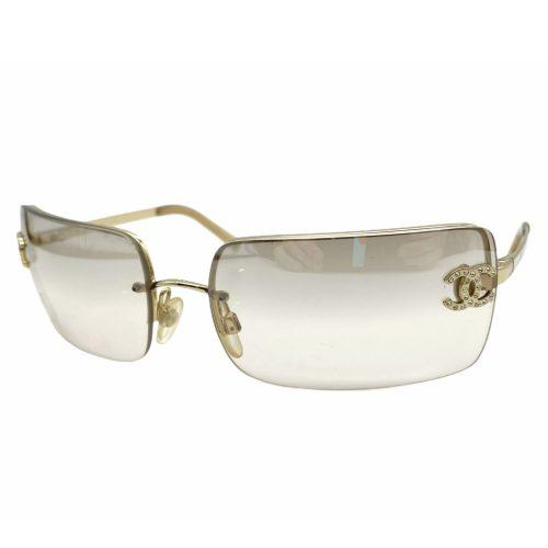 Vintage Chanel Diamante Rimless Sunglasses in Gold | NITRYL