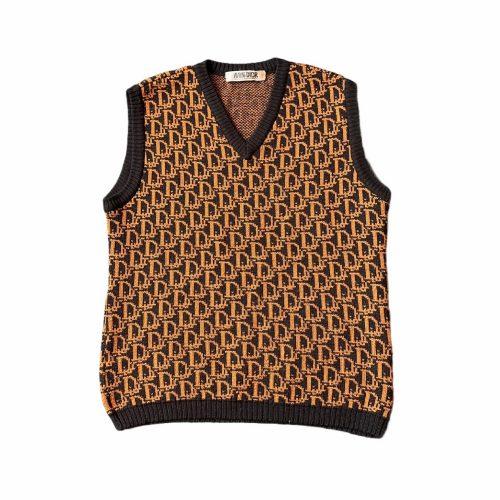 Vintage Dior Monogram Knitted Vest in Black and Brown Size S | NITRYL