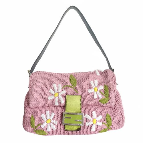 Vintage Fendi Floral Knitted Mama Baguette in Baby Pink | NITRYL