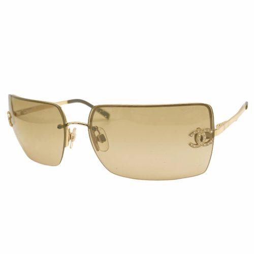 Vintage Chanel Diamante Rimless Sunglasses in Brown | NITRYL