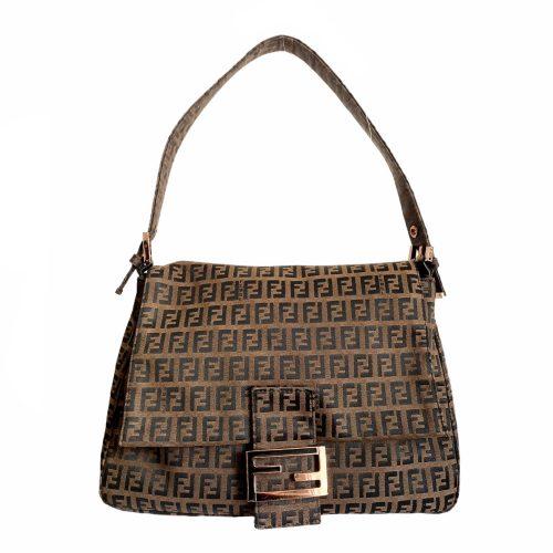 Vintage Fendi Zucchino Monogram Mama Baguette Bag in Brown | NITRYL