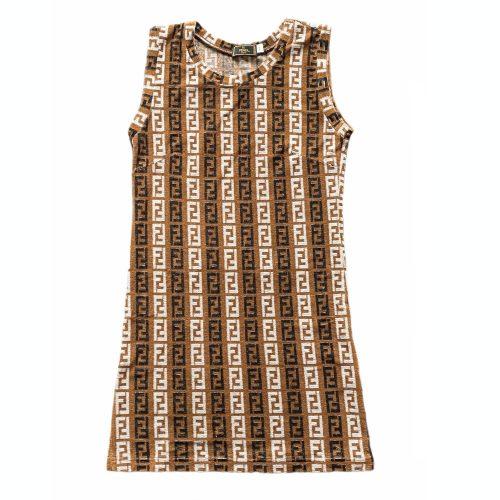 Vintage Fendi Terrycloth Mini Dress in Brown