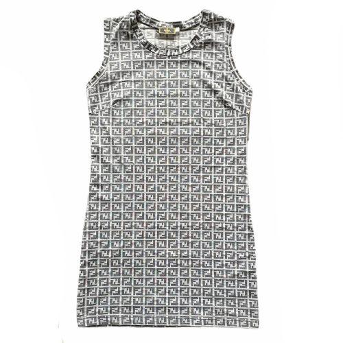 Vintage Fendi Monogram Mini Dress in Grey | NITRYL