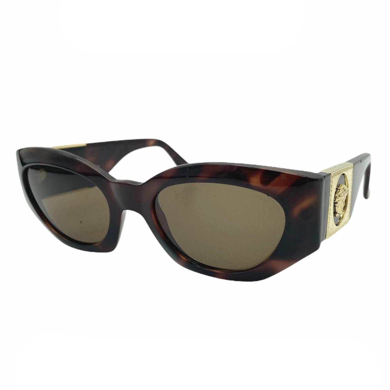 Vintage Versace Mod 420 Chunky Sunglasses in Tortoiseshell and Gold | NITRYL