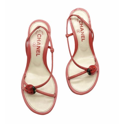 Vintage Chanel Ladybug Slingback Heels in Red UK 2 | NITRYL