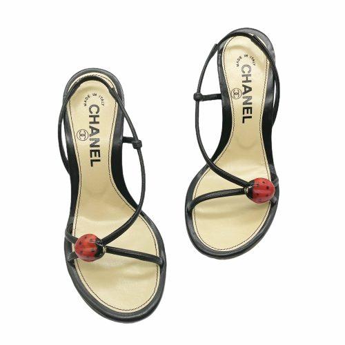 Vintage Chanel Ladybug Slingback Heels in Black UK 2.5 | NITRYL