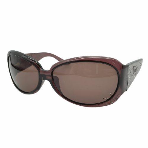 Vintage Dior Diamante Logo Sunglasses in Maroon/Brown | NITRYL