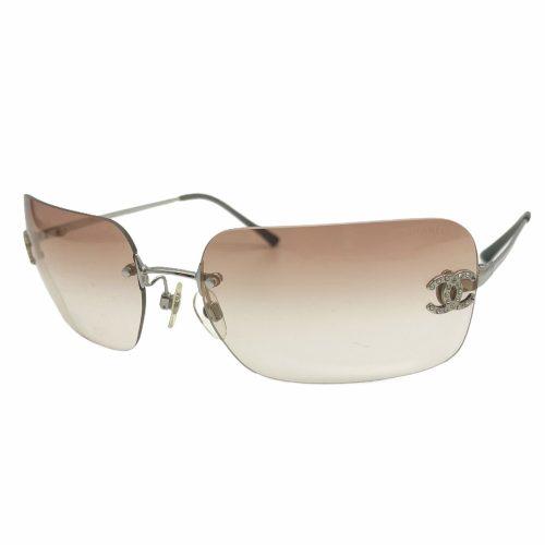 Vintage Chanel Diamante Rimless Sunglasses in Peach Pink | NITRYL