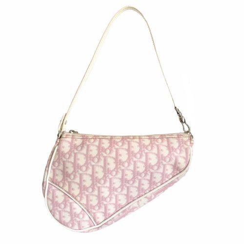 Vintage Dior Monogram Saddle Shoulder Bag in Baby Pink | NITRYL