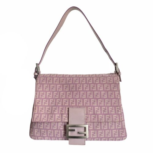 Vintage Fendi Zucchino Mama Shoulder Baguette Bag in Lilac Pink | NITRYL
