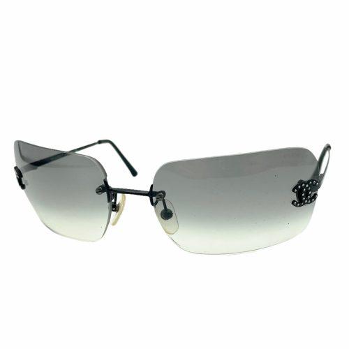 Vintage Chanel Diamante Rimless Sunglasses in Grey | NITRYL