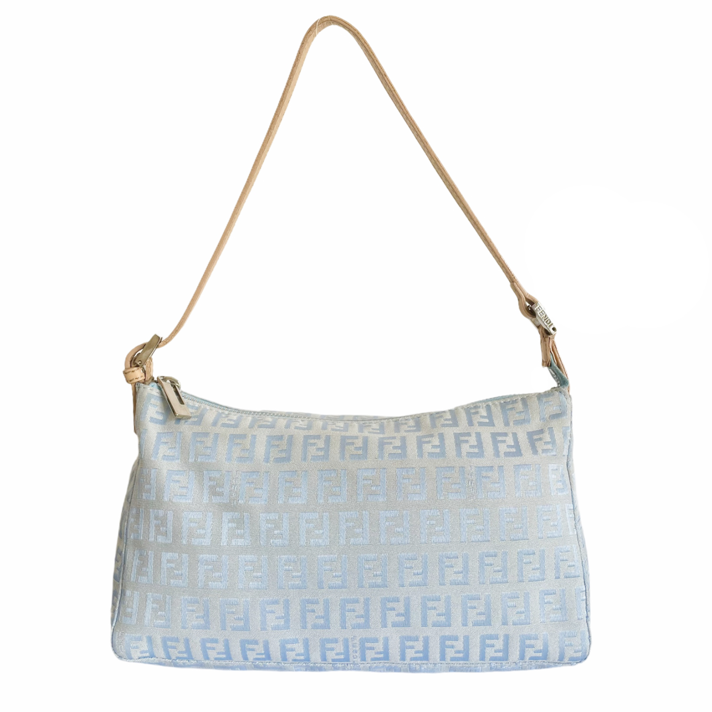 Vintage Fendi Monogram Shoulder Baguette Bag in Baby Blue | NITRYL