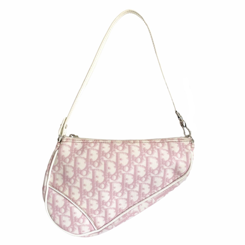 Vintage Dior Monogram Trotter Saddle Bag in Baby Pink | NITRYL