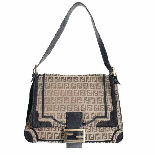 Vintage Fendi Monogram Mama Baguette Bag in Brown and Black | NITRYL