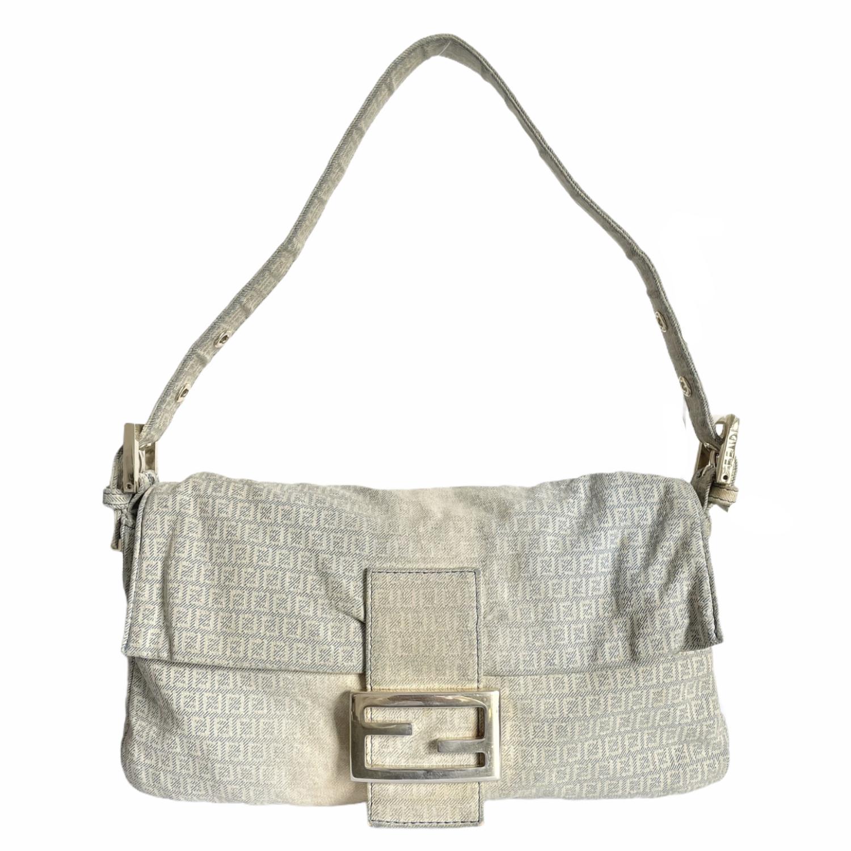 Vintage Fendi Monogram Distressed Denim Baguette Shoulder Bag | NITRYL