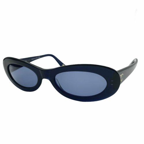 Vintage Chanel Chunky Oval Sunglasses in Blue | NITRYL