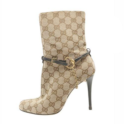 Vintage Gucci Monogram Heeled Ankle Boots in Beige UK 5 | NITRYL