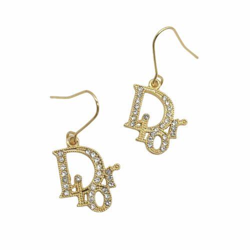 Vintage Dior Diamante Logo Monogram Earrings in Gold | NITRYL