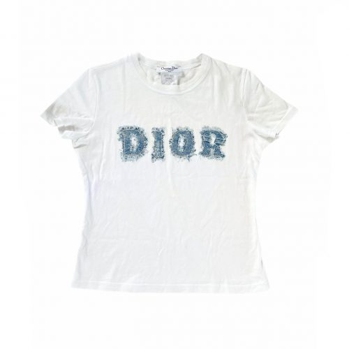 Vintage Dior Denim Spellout Logo T-shirt in White Size 14 | NITRYL