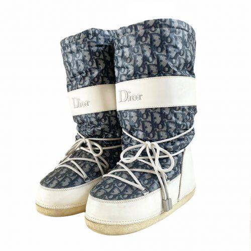 Vintage Dior Monogram Snow Boots in Blue Size 7-9 | NITRYL