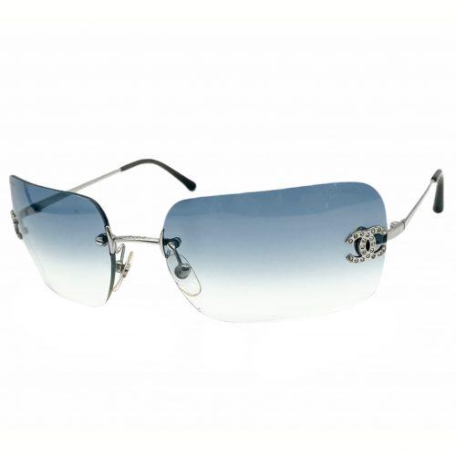 Vintage Chanel Diamante Rimless Sunglasses in Baby Blue | NITRYL