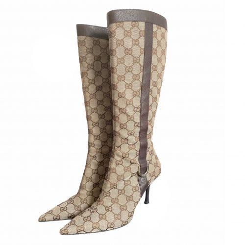 Vintage Gucci Monogram Stiletto Boots in Beige UK 3.5 | NITRYL