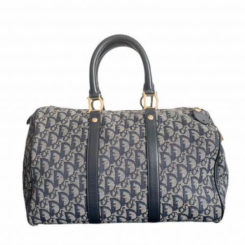 Vintage Dior Monogram Holdall Bag in Navy | NITRYL