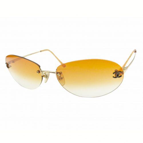 Vintage Chanel Rimless Sunglasses in Orange | NITRYL