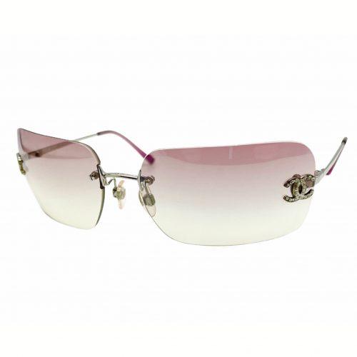 Vintage Chanel Rimless Diamante Sunglasses in Baby Pink | NITRYL