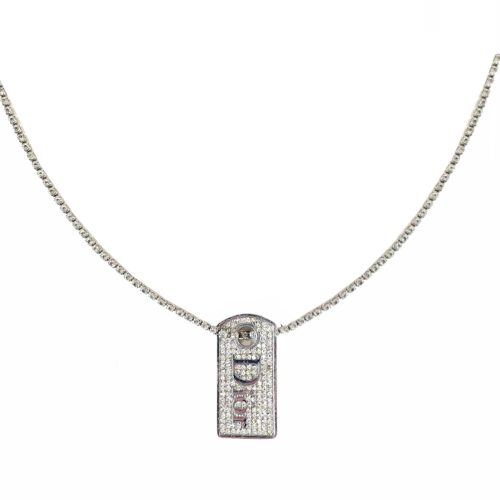 Vintage Dior Diamante Dog Tag Necklace in Silver | NITRYL