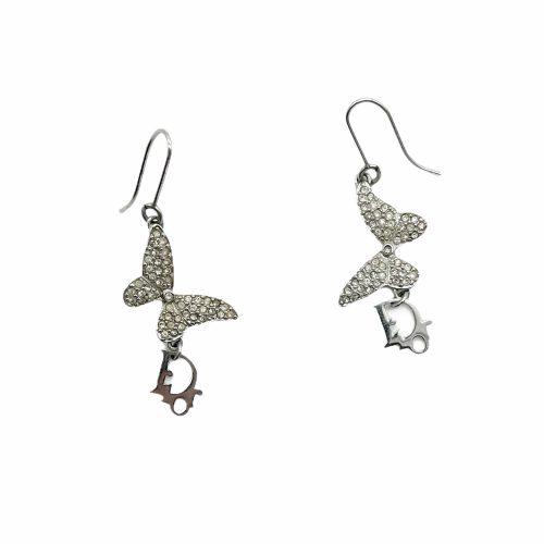 Vintage Dior Diamante Monogram Butterfly Earrings in Silver | NITRYL