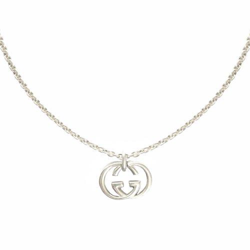 Vintage Gucci Logo Pendant Necklace in Silver | NITRYL