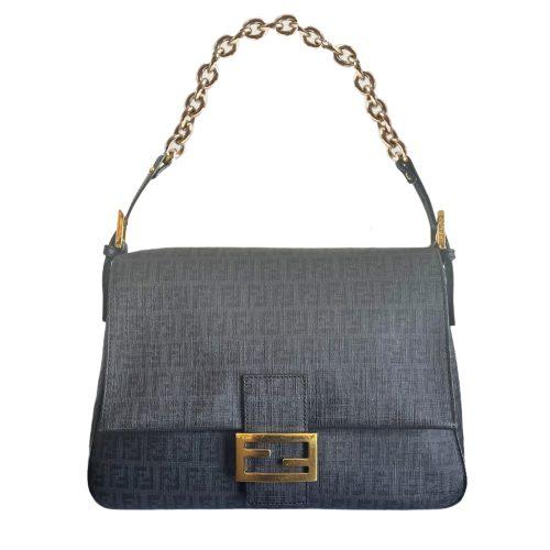 Vintage Fendi Zucchino Monogram Mama Baguette Bag in Black and Gold | NITRYL