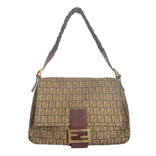 Vintage Fendi Zucchino Mama Baguette Bag in Green and Brown | NITRYL