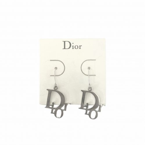 Vintage Dior Logo Drop Earrings in Silver | NITRYL