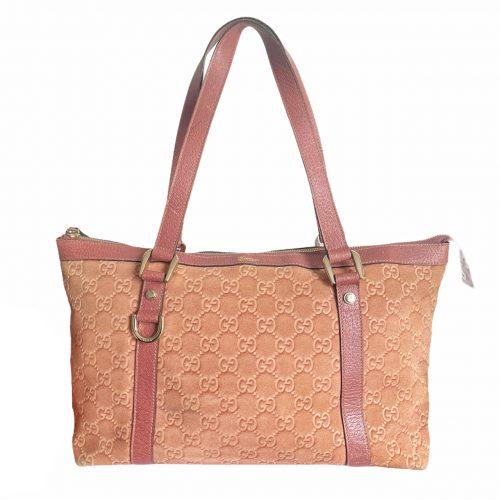 Vintage Gucci Monogram Shoulder Tote Bag in Salmon Pink   NITRYL