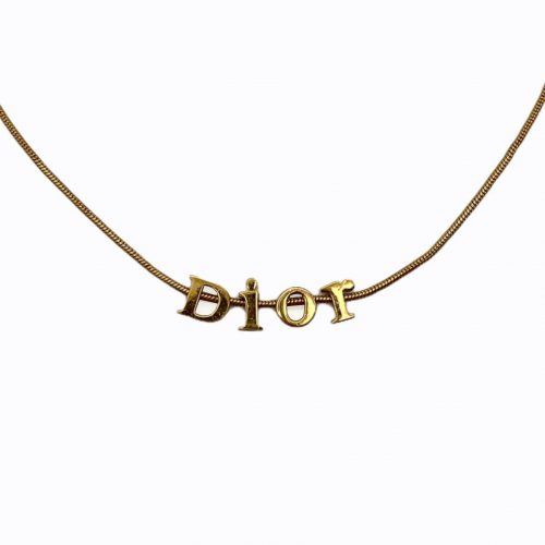 Vintage Dior Spellout Logo Necklace in Gold | NITRYL