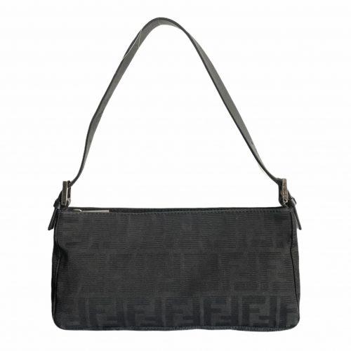 Vintage Fendi Zucca Monogram Baguette Shoulder Bag in Black | NITRYL