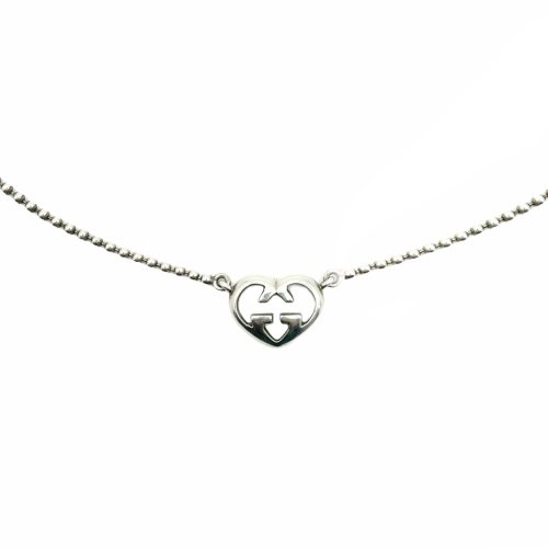 Vintage Gucci Heart Logo Pendant Necklace in Silver | NITRYL