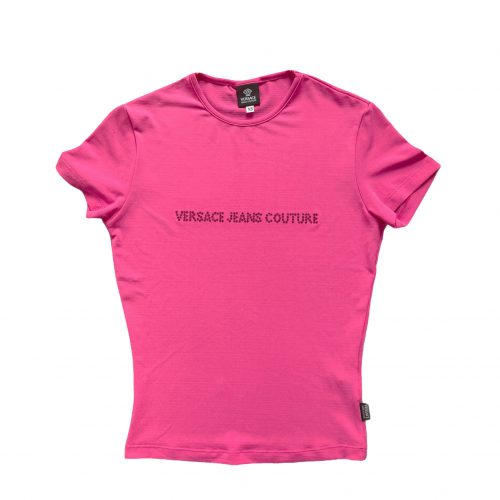 Vintage Versace Jeans Diamante Spellout T Shirt in Pink | NITRYL
