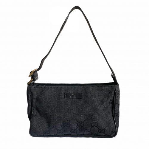 Vintage Gucci Monogram Mini Pochette Shoulder Bag in Black | NITRYL
