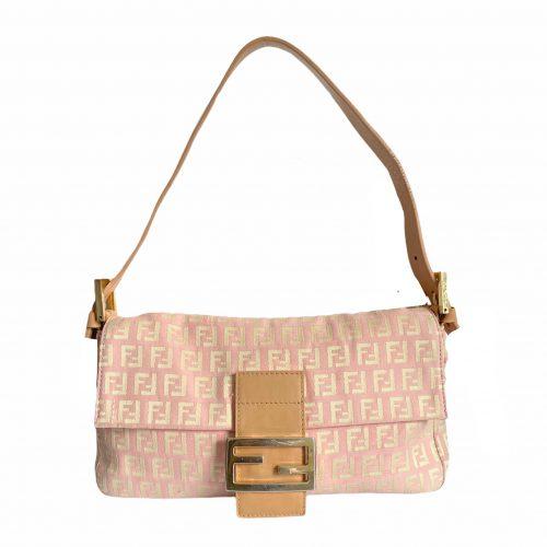 Vintage Fendi Zucchino Monogram Baguette Shoulder Bag in Baby Pink | NITRYL
