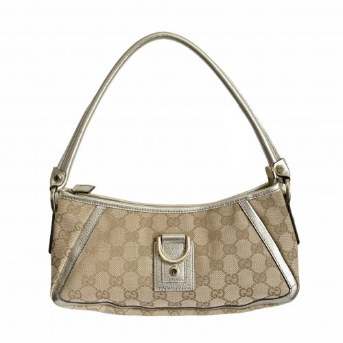 Vintage Gucci Monogram Shoulder Baguette Bag in Beige and Gold | NITRYL