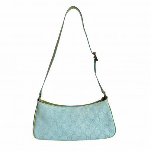 Vintage Gucci Monogram Baguette Shoulder Bag in Blue and Green | NITRYL