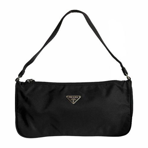 Vintage Prada Nylon Baguette Shoulder Bag in Black | NITRYL