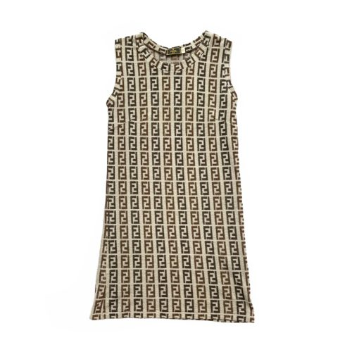 Vintage Fendi Monogram Terrycloth Mini Dress in Grey Size M | NITRYL