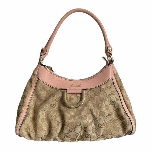 Vintage Gucci Monogram Hobo Bag in Beige and Baby Pink   NITRYL