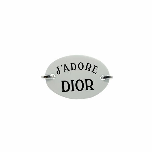 Vintage Dior 'J'Adore Dior' Plate Ring in Silver and White   NITRYL